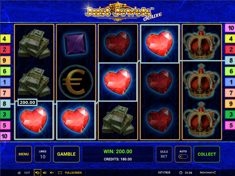 Выиграй с легкостью в Вулкан Гранд казино играя в автомате Just Jewels Deluxe
