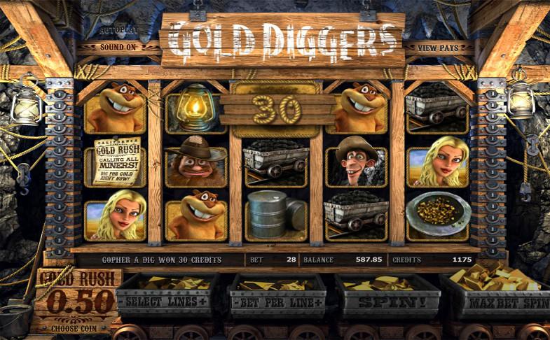 Игровой автомат Gold Diggers - поймай времена золотой лихорадки в казино Фараон
