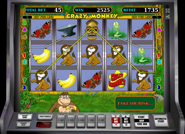 Игровой автомат Crazy Monkey - в казино Вулкан выиграй Джекпот